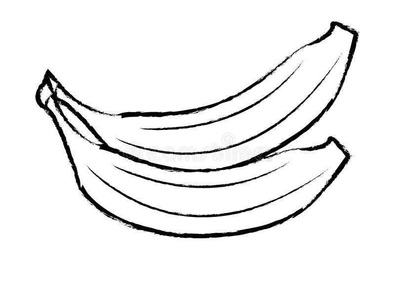 Bosquejo de las historietas de las frutas de Banans stock de ilustración