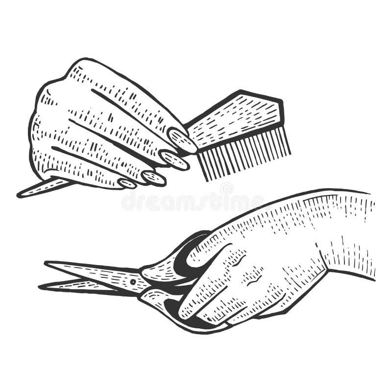 Bosquejo de las manos del peluquero del peluquero que graba vector stock de ilustración