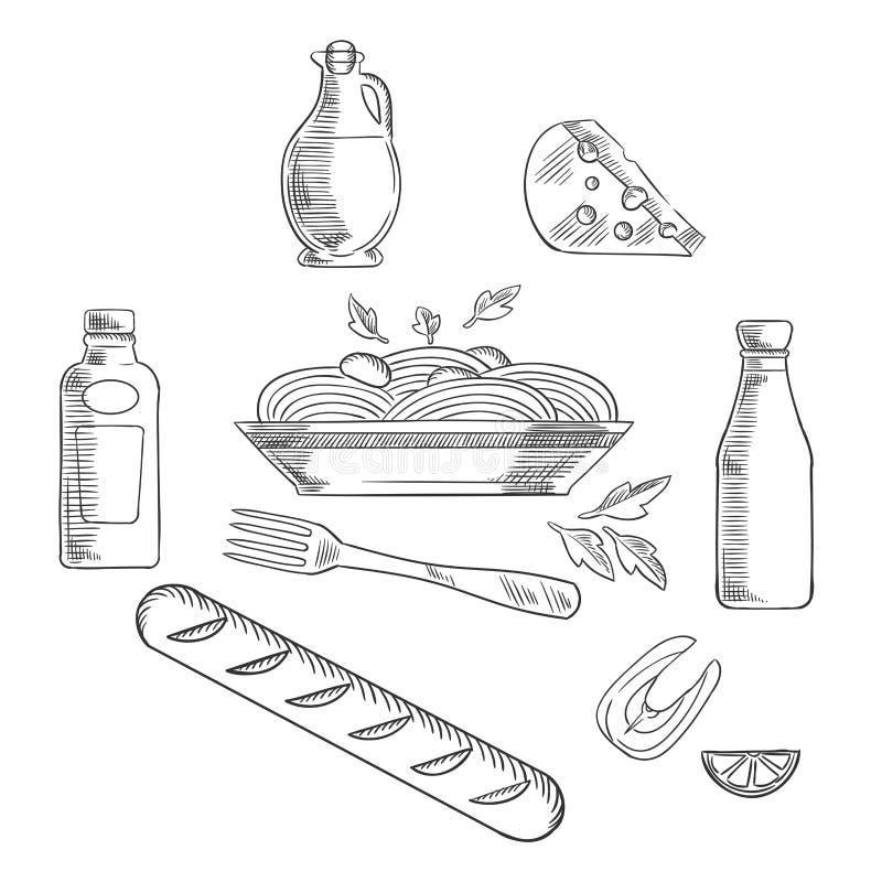 Bosquejo de las pastas y de la comida italianas libre illustration