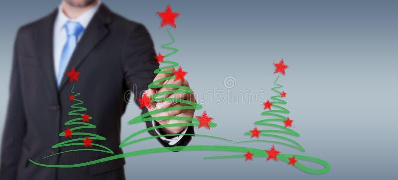 Bosquejo de los árboles de navidad del dibujo del hombre de negocios stock de ilustración