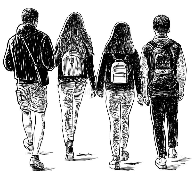 Bosquejo de los amigos de los estudiantes que caminan abajo de la calle stock de ilustración