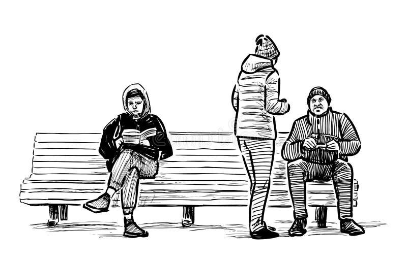 Bosquejo de los ciudadanos que descansan sobre un banco en un parque de la ciudad stock de ilustración