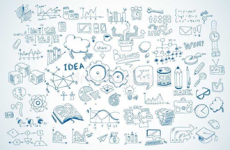 Bosquejo de los garabatos del negocio fijado: elementos aislados, formas del infographics del vector stock de ilustración