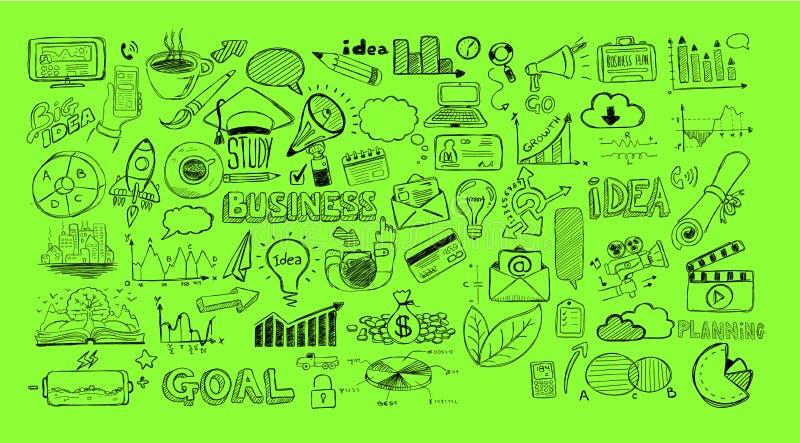 Bosquejo de los garabatos del negocio fijado: elementos del infographics aislados stock de ilustración