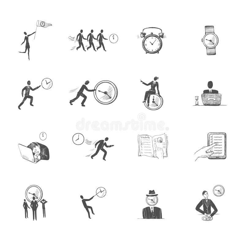 Bosquejo de los iconos de la gestión de tiempo libre illustration