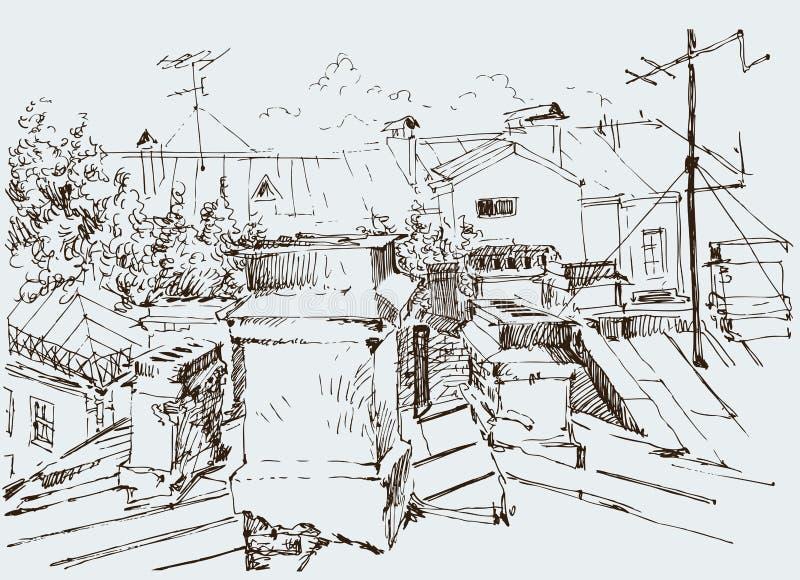 Bosquejo de los tejados de la ciudad ilustración del vector