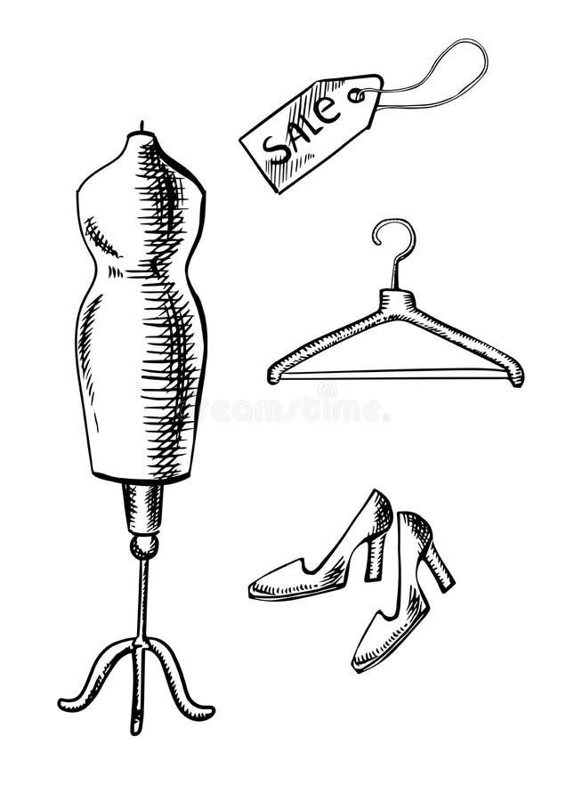 Bosquejo de los zapatos, de la etiqueta, de la suspensión y del maniquí stock de ilustración
