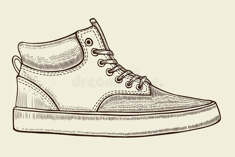 Bosquejo de los zapatos del deporte stock de ilustración