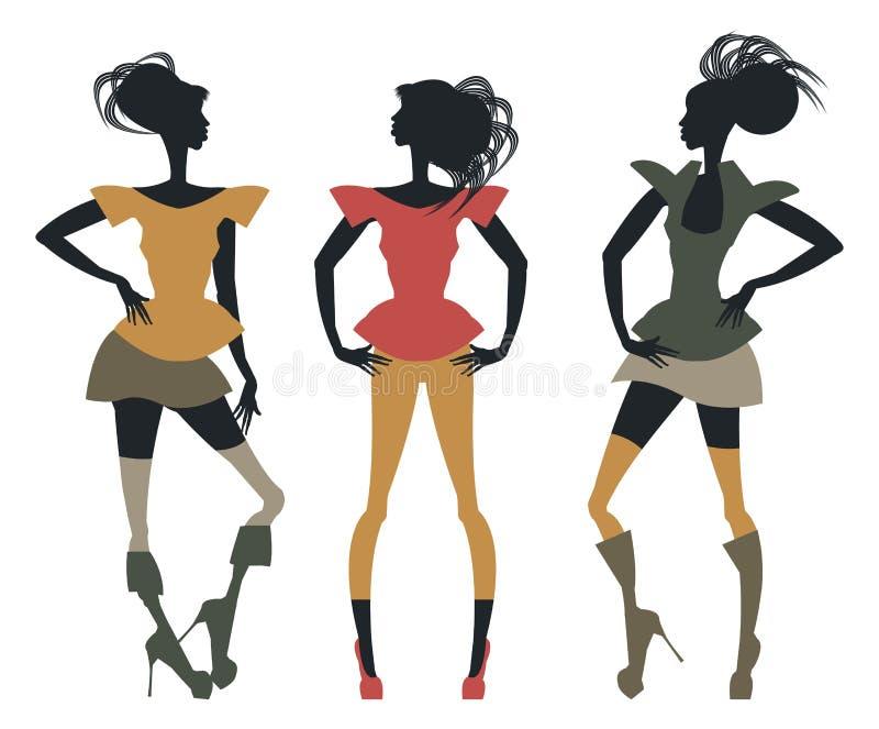 Bosquejo de moda con las siluetas elegantes de los women's ilustración del vector