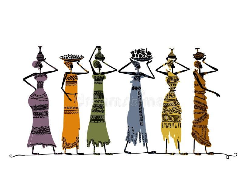 Bosquejo de mujeres étnicas con los jarros para su diseño ilustración del vector