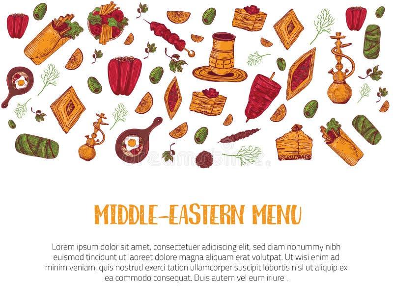 Bosquejo de Oriente Medio de la bandera del menú del bosquejo moderno con el kebab, Dolma, Shakshuka, shisha Garabatos a pulso de ilustración del vector