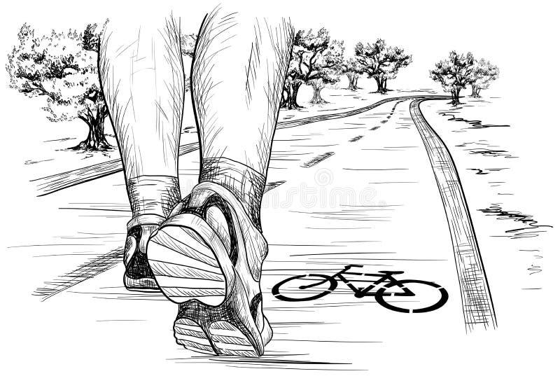 Bosquejo de pies de un funcionamiento del corredor (el caminar) en maratón ilustración del vector