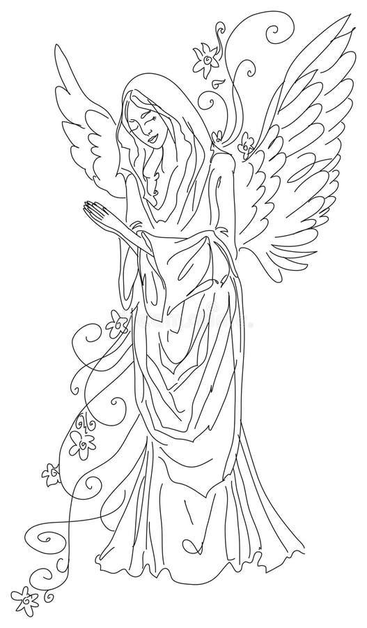 Bosquejo de rogación del ángel - EPS ilustración del vector
