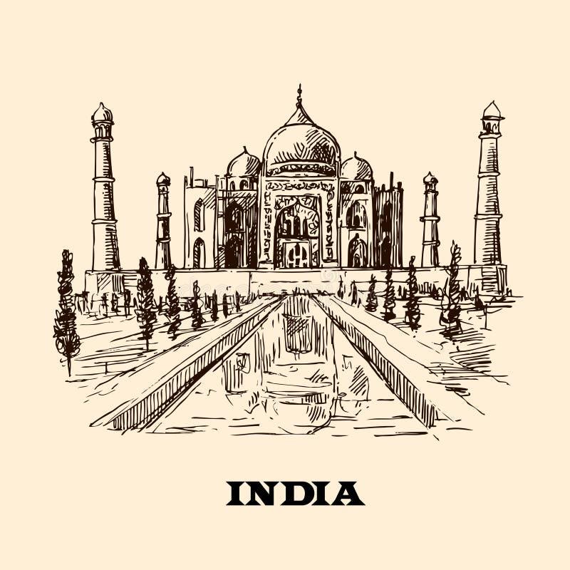 Bosquejo de Taj Mahal ilustración del vector
