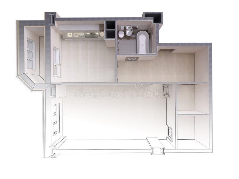 Bosquejo de un apartamento moderno que pone en contraste con una representación realista 3d, visión superior del proyecto, aislad libre illustration
