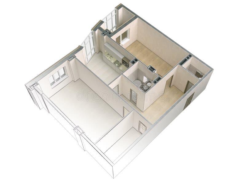 Bosquejo de un apartamento moderno que pone en contraste con una representación realista 3d, visión superior del proyecto, aislad ilustración del vector
