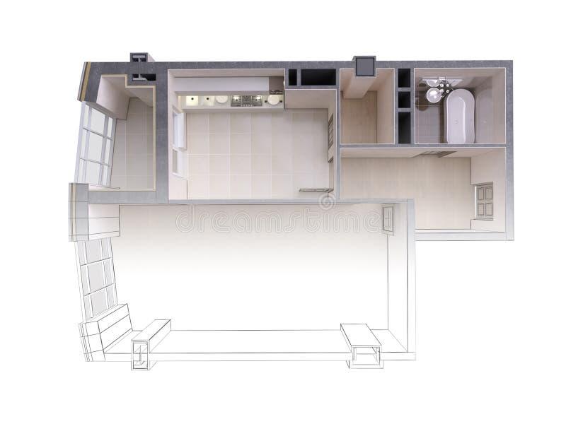 Bosquejo de un apartamento moderno que pone en contraste con una representación realista 3d, visión superior del proyecto, aislad stock de ilustración
