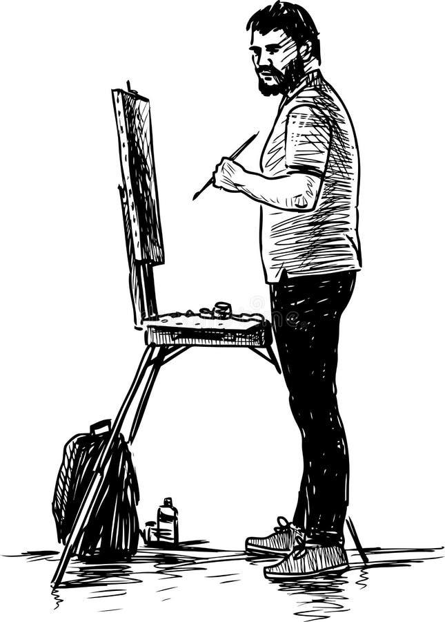 Bosquejo de un artista en el trabajo al aire libre ilustración del vector