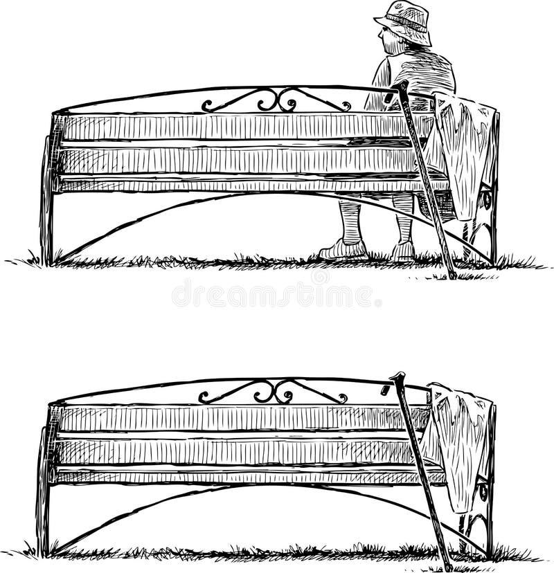 Bosquejo de un banco en un parque y una mujer mayor que se relajan ilustración del vector