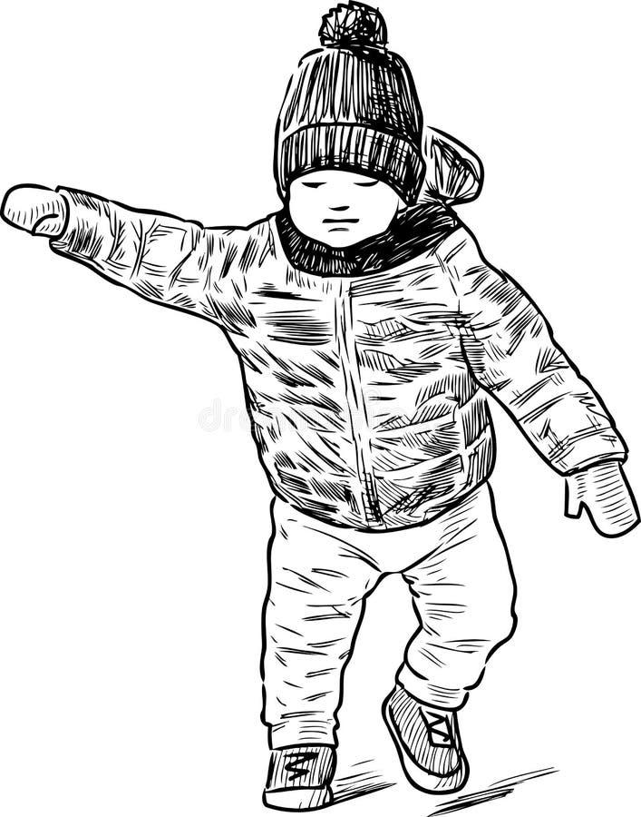 Bosquejo de un bebé que camina libre illustration