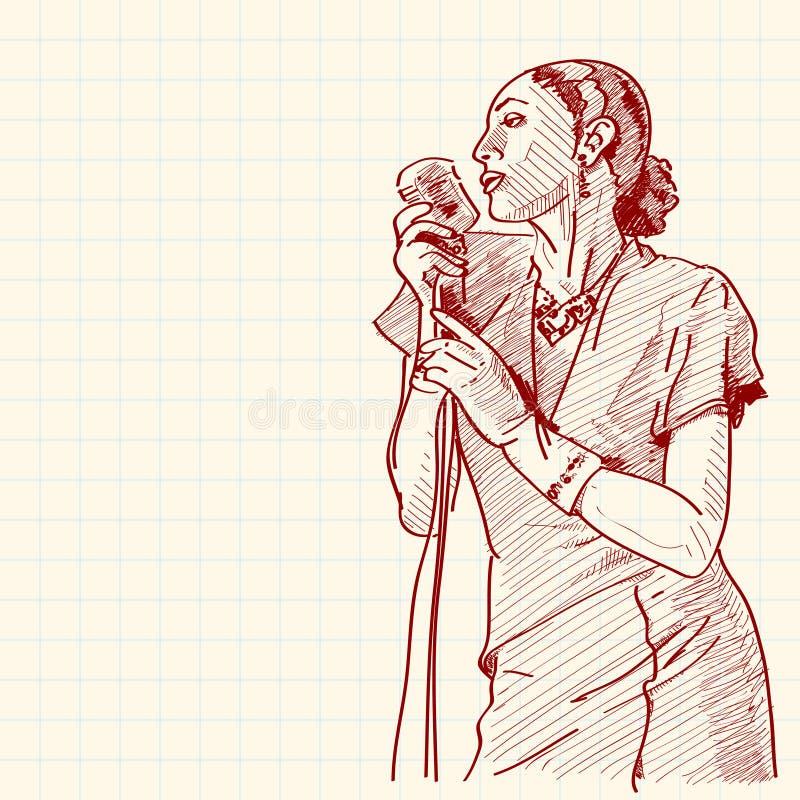 Bosquejo de un cantante del jazz stock de ilustración