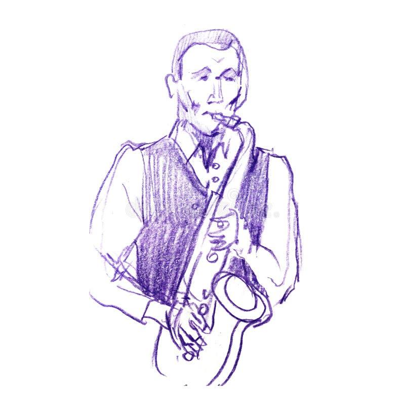 Bosquejo de un músico con un saxofón Ejemplo del pancil del color del jazz Saxofonista en un fondo blanco stock de ilustración
