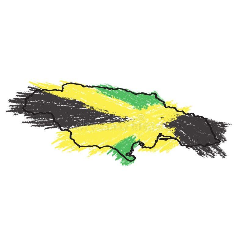 Bosquejo de un mapa de Jamaica ilustración del vector
