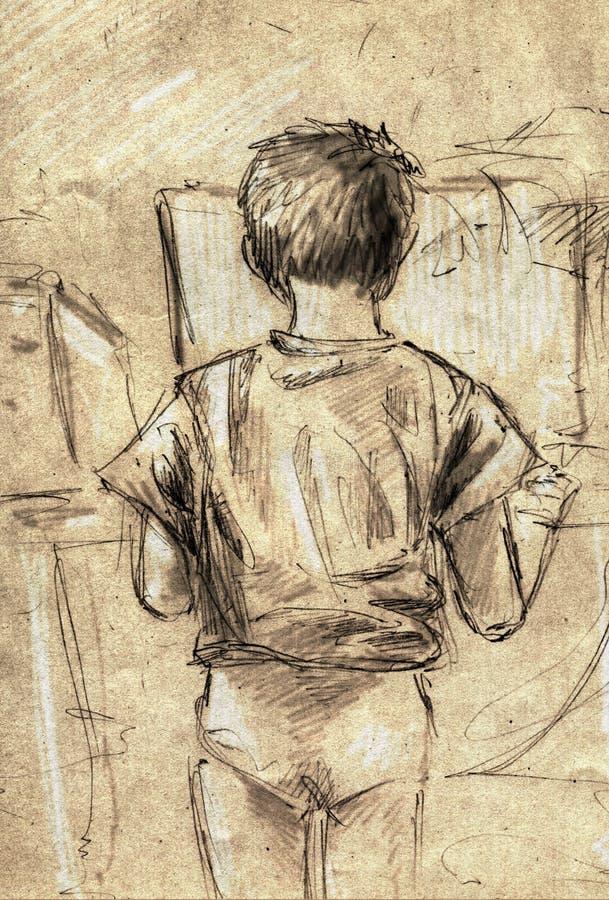 Bosquejo de un niño pequeño que usa el ordenador imagenes de archivo