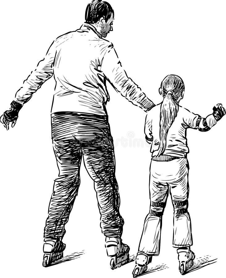 Bosquejo de un padre con su hija que monta los pcteres de ruedas imágenes de archivo libres de regalías