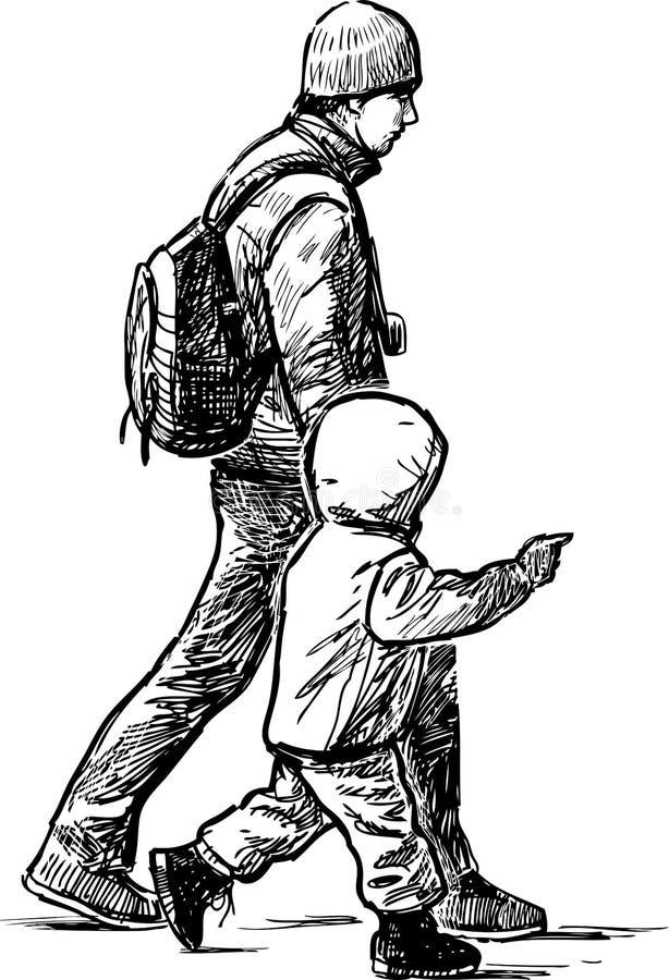 Bosquejo de un padre joven con su niño que anda a trancos abajo de la calle ilustración del vector