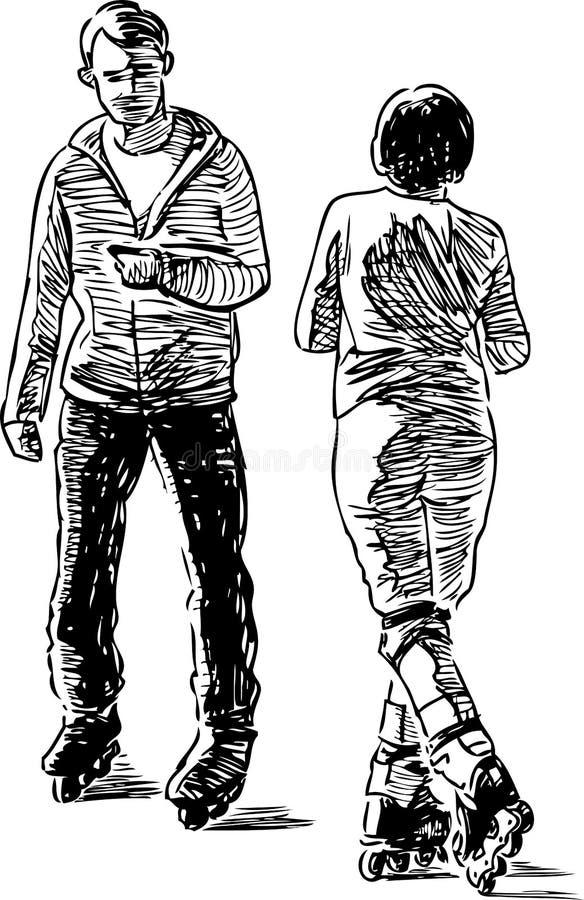 Bosquejo de un par de ciudadanos en los pcteres de ruedas que paran para una charla libre illustration