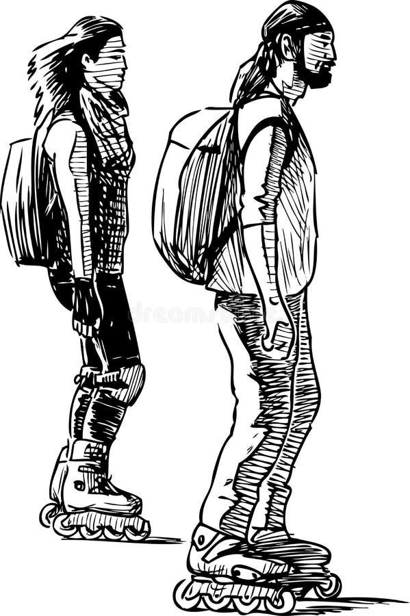 Bosquejo de un par de ciudadanos jovenes rollerblading ilustración del vector