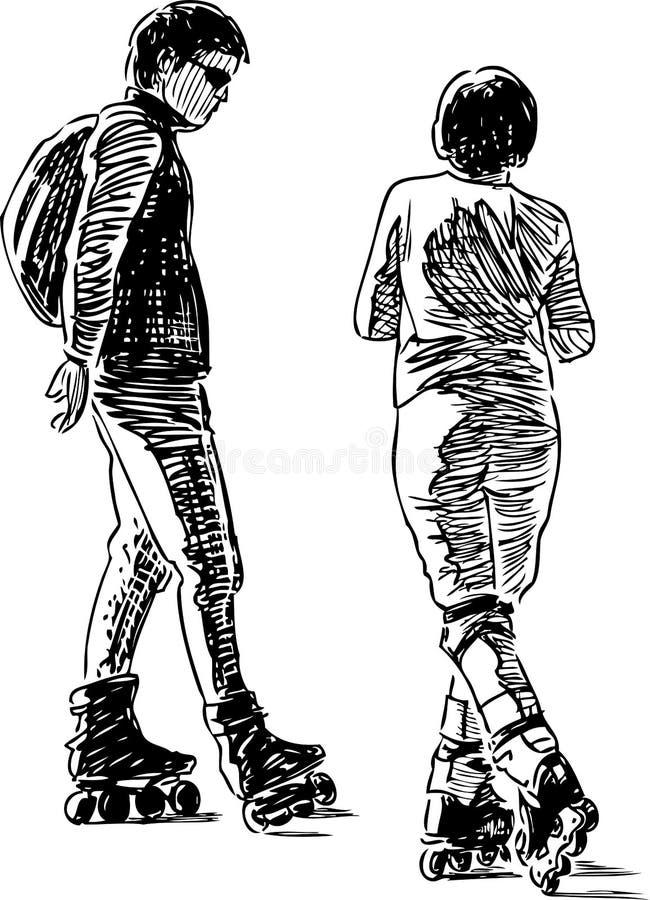 Bosquejo de un par de ciudadanos que patinan en los rodillos libre illustration