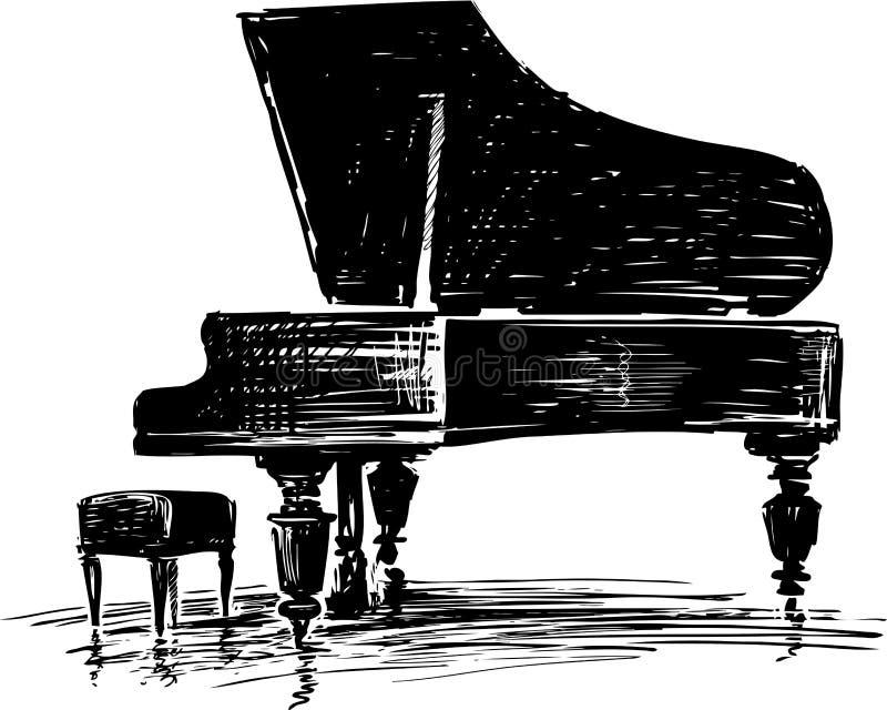 Bosquejo de un piano de cola del concierto stock de ilustración