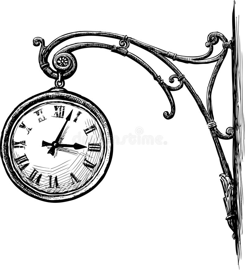 Bosquejo de un reloj decorativo de la calle ilustración del vector