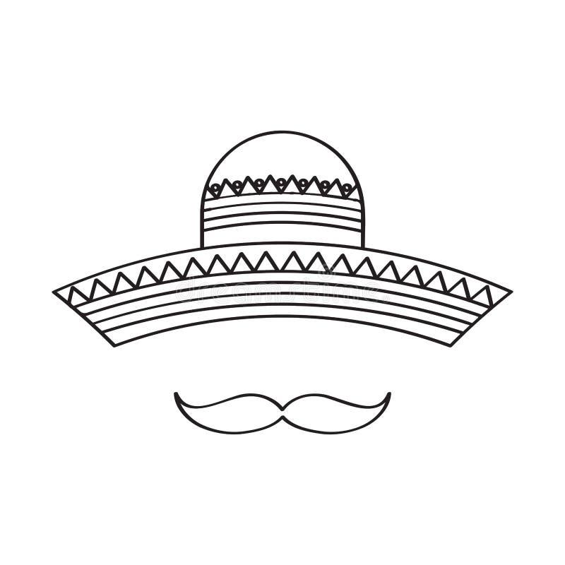 Bosquejo de un sombrero mexicano tradicional ilustración del vector
