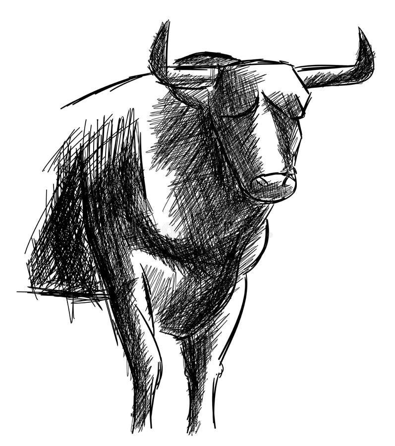 Bosquejo de un toro en blanco y negro aislado ilustración del vector