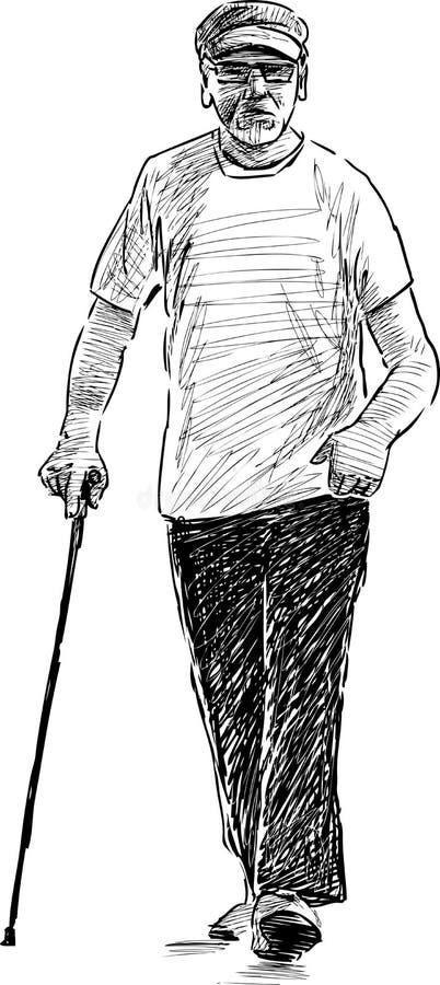 Bosquejo de un viejo hombre en un paseo stock de ilustración