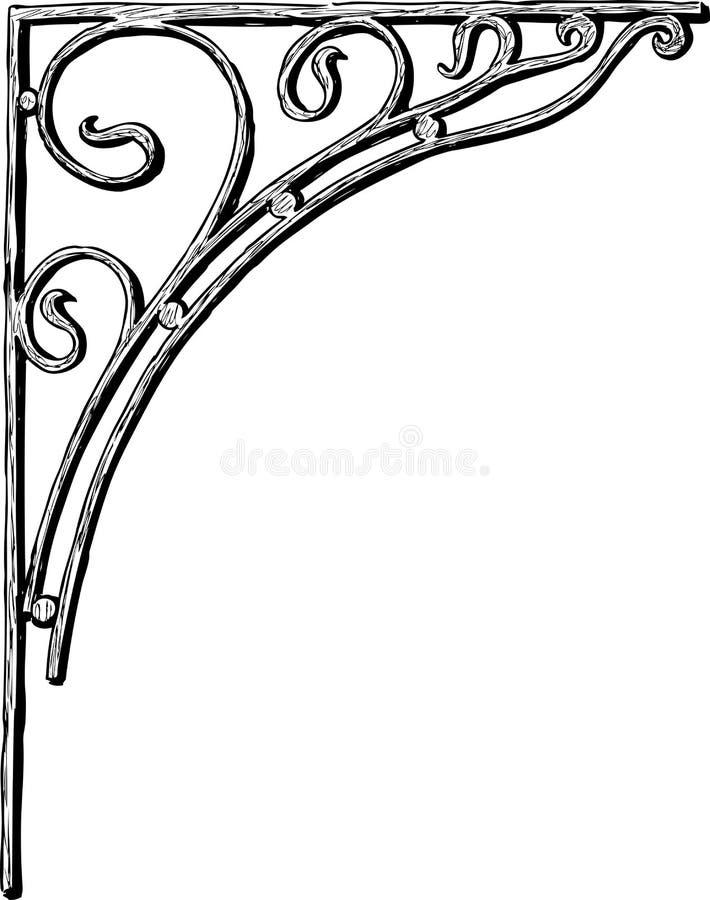 Bosquejo de una esquina decorativa en estilo del art nouveau stock de ilustración