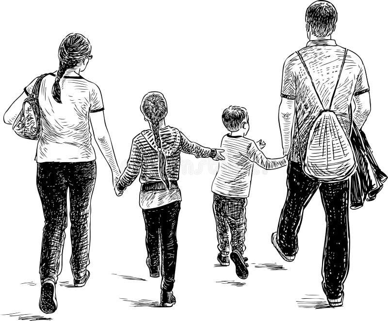 Bosquejo de una familia de ciudadanos que van en un paseo ilustración del vector
