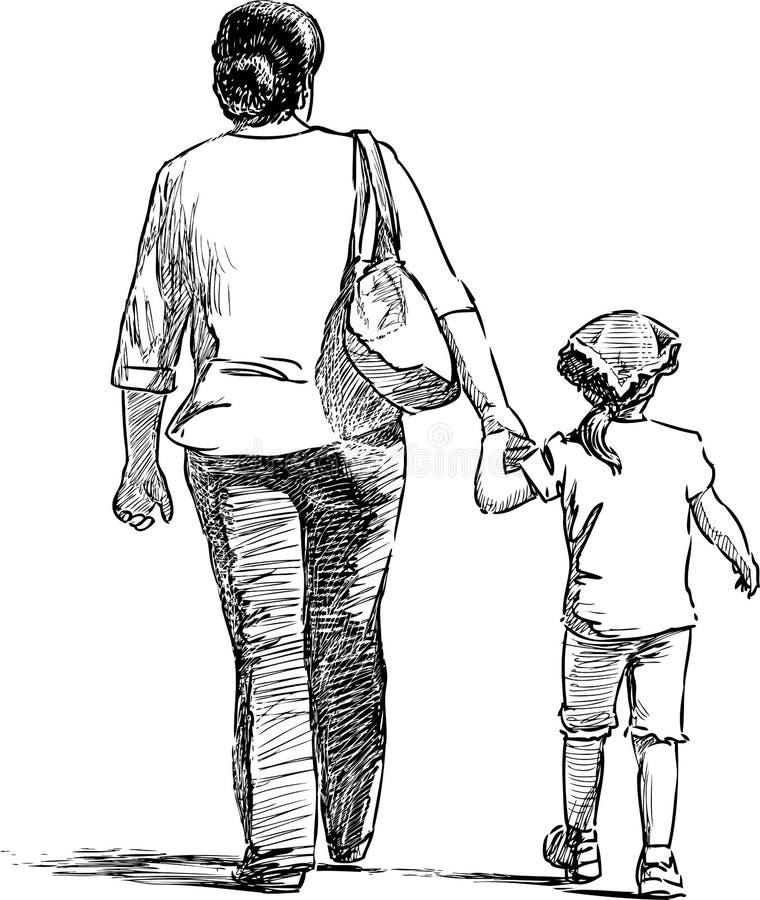 Bosquejo de una madre con su pequeña hija que va en un paseo imagenes de archivo
