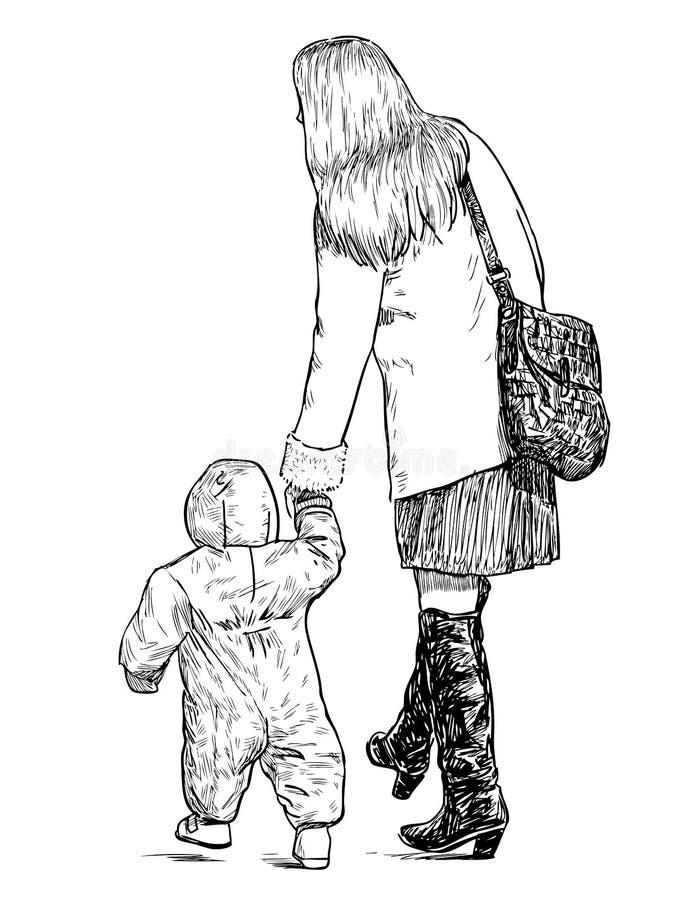 Bosquejo de una madre joven con su niño que va para un paseo ilustración del vector
