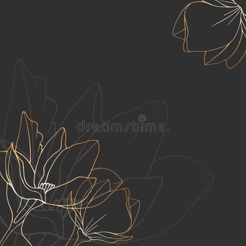 Bosquejo de una magnolia dibujada ilustración del vector