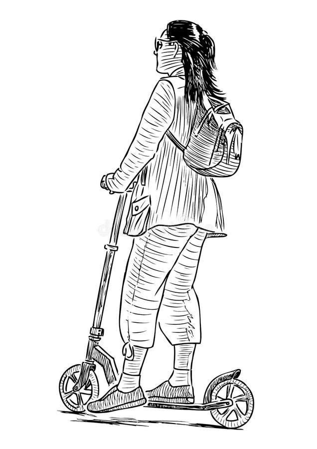 Bosquejo de una muchacha adolescente que da un paseo con su vespa stock de ilustración