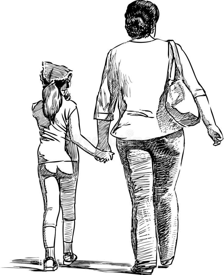 Bosquejo de una mujer con su pequeña hija que camina para un paseo imagen de archivo