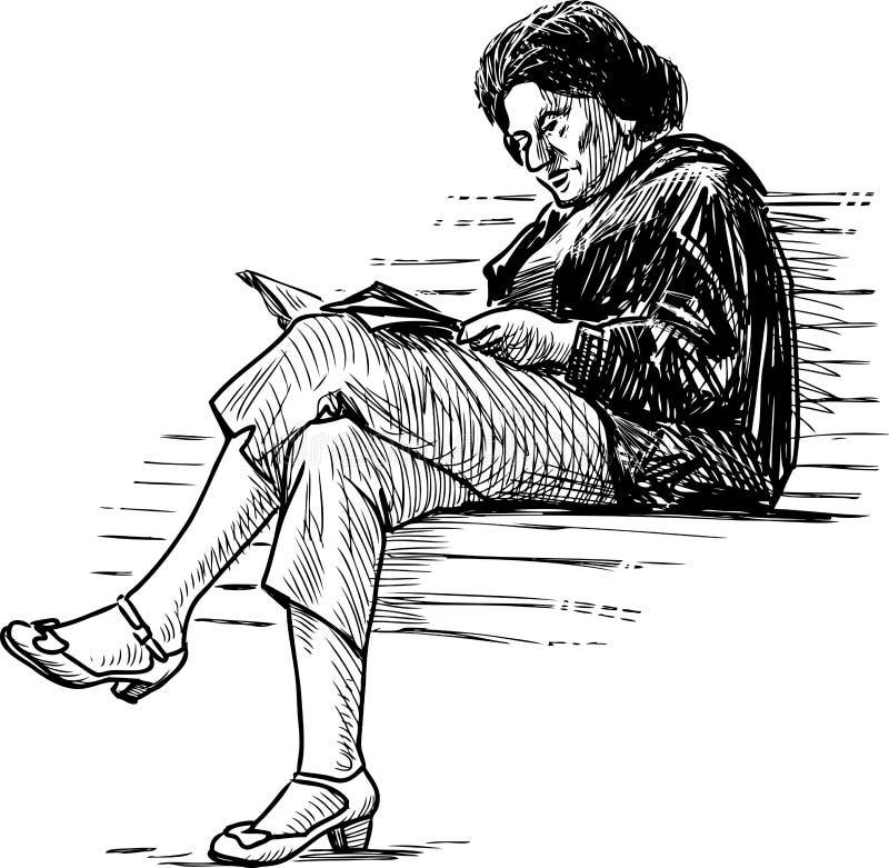 Bosquejo de una mujer mayor que lee un libro en un banco de parque libre illustration