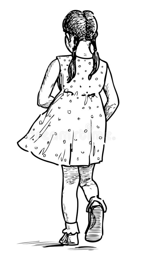 Bosquejo de una niña que va para un paseo en un día de verano fotos de archivo