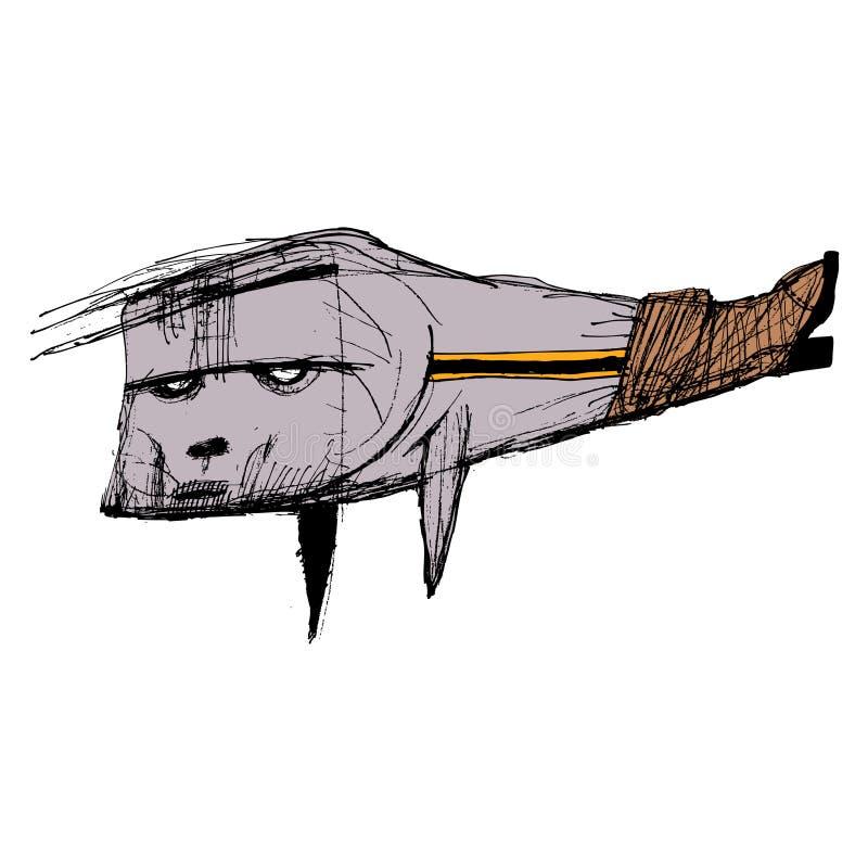 Bosquejo de una pescado-bota Para las postales o los carteles, usted puede en la camiseta ilustración del vector