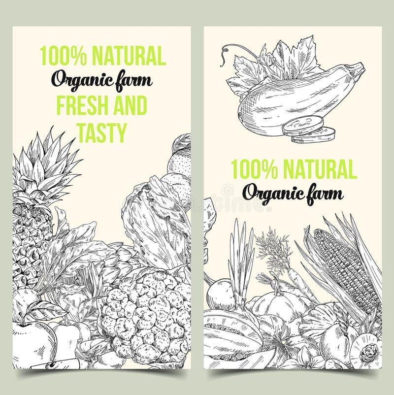 Bosquejo de verduras y de frutas en bandera de la tienda stock de ilustración