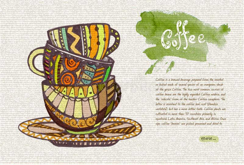 Bosquejo decorativo de la taza stock de ilustración
